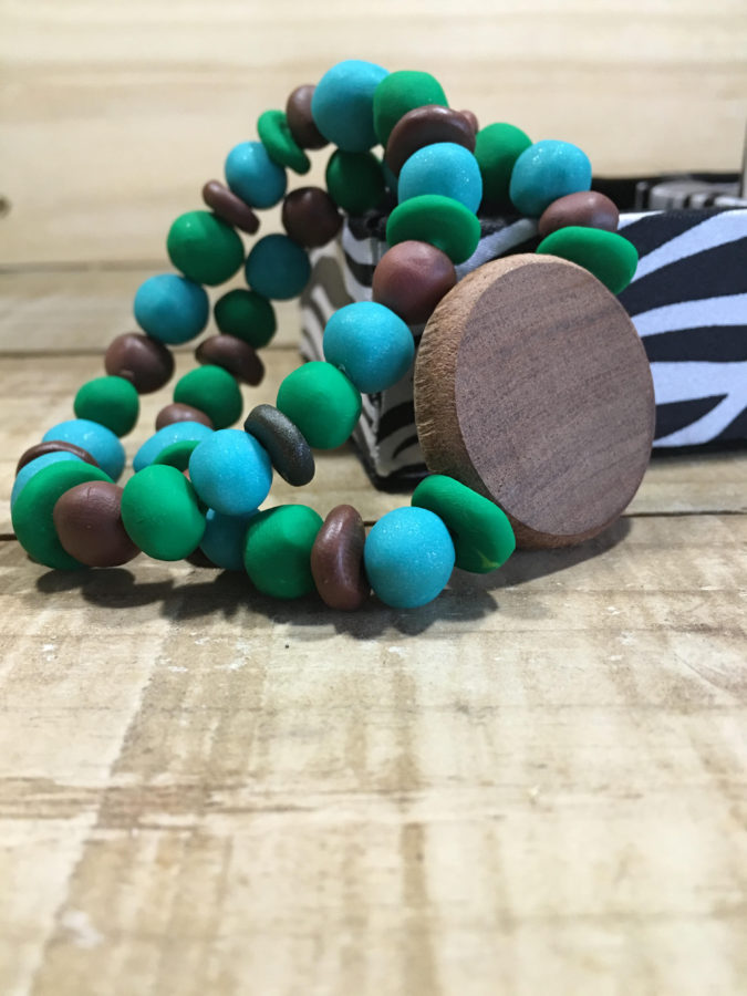 Wood and Clay Bracelet